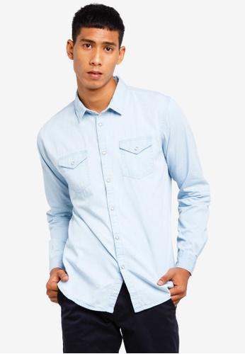 Brave Soul 藍色 長袖襯衫 2E5C0AA2A10784GS_1