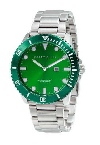 PERRY ELLIS green and silver Perry Ellis Deep Diver Unisex 42mm Quartz Stainless Steel Watch 06006-02 328BDAC45F4689GS_1