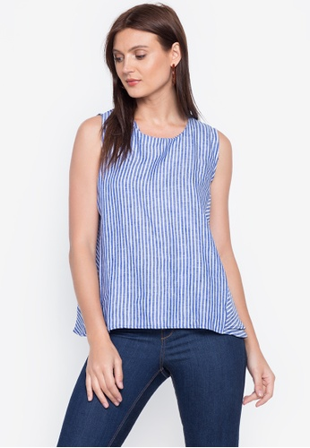 Chictees blue Guiliana Linen Sleeveless Top AB719AA2904D1CGS_1