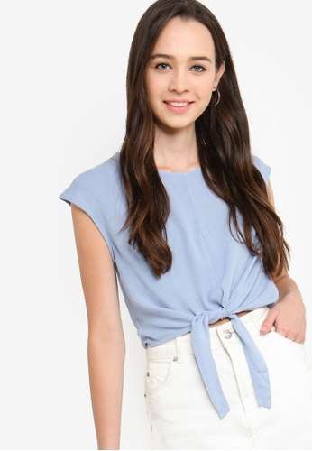 Something Borrowed blue Cropped Tie Front Top 02230AA5903985GS_1