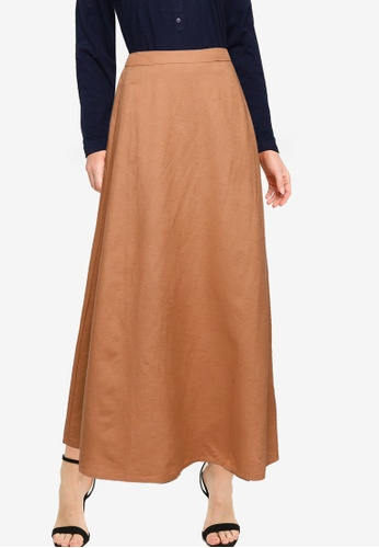 LC WAIKIKI beige Flared Skirt With Button Detail C0209AA5FB5DE2GS_1