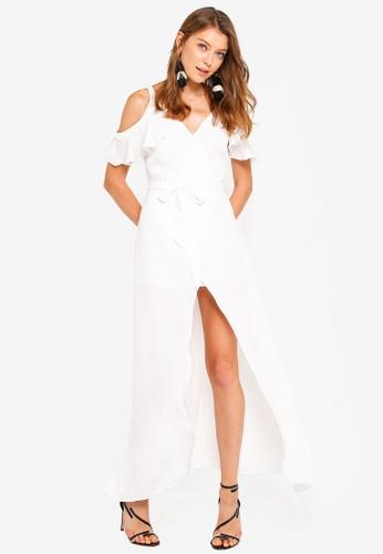 Preen & Proper white Front-Wrap Maxi Dress 7AEB8AA48E127FGS_1
