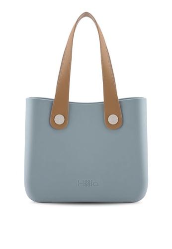 Hoola Hoola blue Alma Tote Classic - Smoke Blue with Beige & Nude handles FBE29AC8C7D97BGS_1
