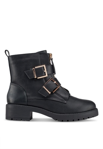 River Island black Double Buckle Chunky Boots 23626SHE668BB3GS_1