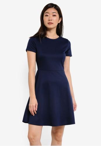 ZALORA blue and navy Basic Skater Dress DBA4DAAA7C017FGS_1