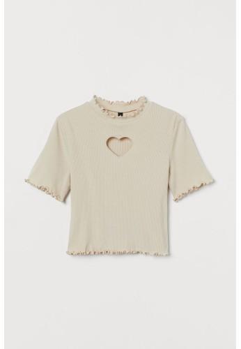 H&M beige Cut-out-detail top 69272AAB5391D2GS_1