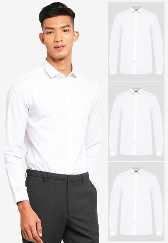 89bc1c795d Burton Menswear London white 3 Pack White Skinny Fit Easy Iron Shirt  01DB3AA2569695GS_1