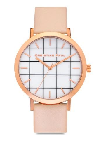 Bondi esprit女裝格紋手錶, 錶類, 皮革錶帶