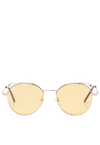 London Rag yellow Tinted Oval Sunglasses In Metal Rim A3C0CGL1449B72GS_1