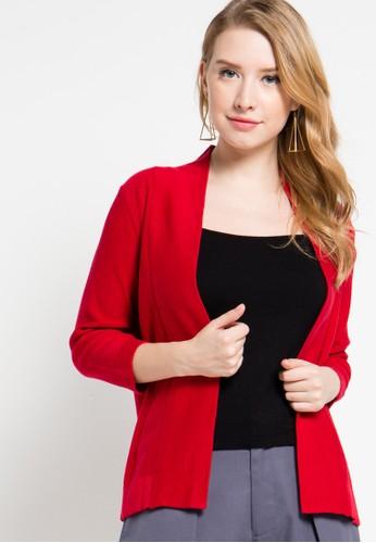 Noir Sur Blanc red Ladies Cardigan 3/4 Sleeve NO321AA51ZUEID_1