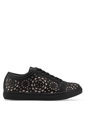 Velvet black Flower Cut Out sneakers BC2C7SH279560EGS_1