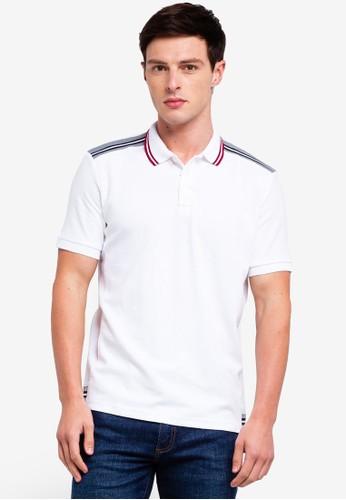UniqTee white Pique Polo Shirt With Striped Trims 3BB1AAAFA20B61GS_1