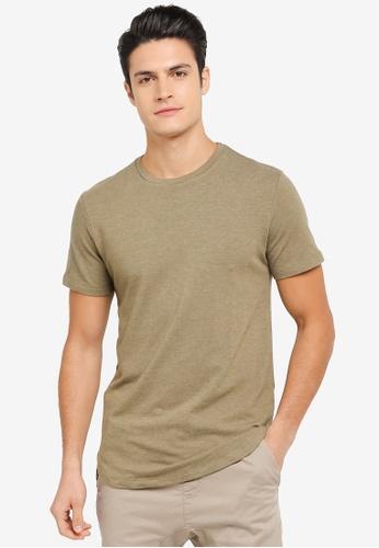 ZALORA green Textured Jersey Curve Hem Tee 90347AA5AE23B9GS_1