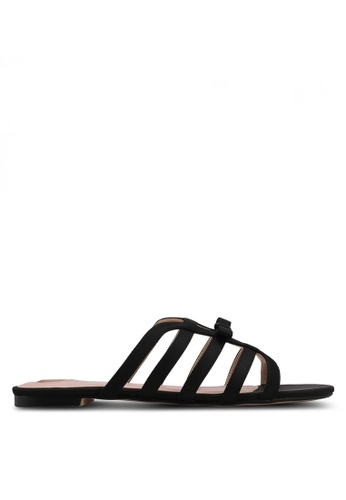 Velvet black Caged Sandals FFFB0SH0A0CFE5GS_1