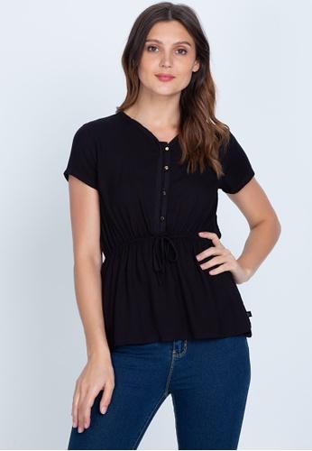 No Apologies black Woven Plain Rayon Short Sleeves Blouse DEB60AA9A76FCBGS_1