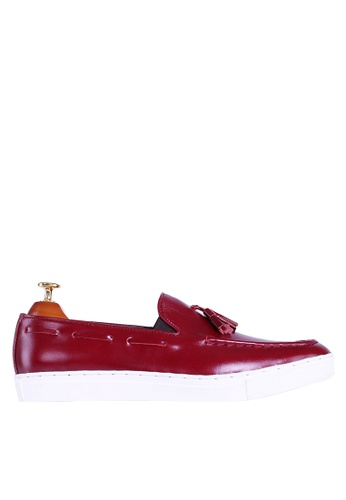 Zeve Shoes red Zeve Shoes Tassel Sneakers - Red Leather 9C4BESH48D8539GS_1