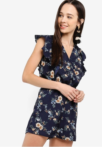 01d8bd28f10d Something Borrowed navy Ruffled V-Neck Playsuit 9D5D7AA502009AGS 1