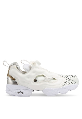 Reebok 灰色 and 白色 and 米褐色 Instapump Fury Cutouts 運動鞋 RE691SH0SW2KMY_1
