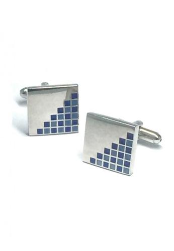 Splice Cufflinks silver Blue Crystals Patterned Square Cufflinks   SP744AC42DUBSG_1