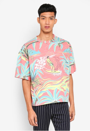 Topman pink Pink Surfer Boxy T-Shirt C398AAA3605991GS_1