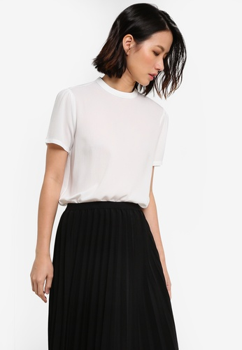 ZALORA white Essential High Collar Short Sleeve Top 781C2AA3ED3EBDGS_1