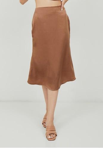 Boss Babe the Label brown and bronze Lux Victoria Satin Silk Midi Mermaid Skirt in Bronze 195F8AA4F7F01CGS_1