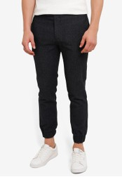 ZALORA navy Textured Woven Formal Joggers DED3EZZ07C3262GS_1