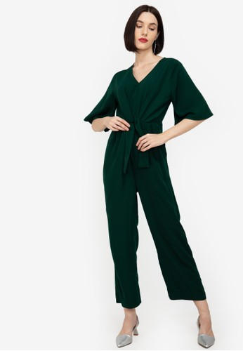 ZALORA WORK green Tie Front Jumpsuit 1B47FAA9656ABCGS_1