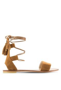 【ZALORA】 麂皮流蘇纏繞繫帶平底涼鞋