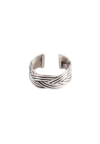 A-Excellence silver Premium S925 Sliver Braided Ring 49E09AC092FFE0GS_1