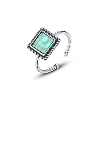 Glamorousky silver 925 Sterling Silver Fashion Simple Geometric Square Adjustable Open Ring 126C4AC219AE72GS_1