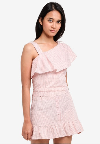 Something Borrowed pink Asymmetric Ruffle Top with Drawstring 61EC4AAEC7C0F0GS_1