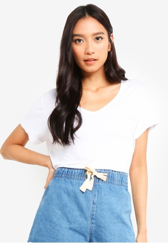 Cotton On white Karly Short Sleeve V Neck Top 07DD4AA63A9529GS_1