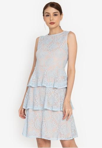 ZALORA OCCASION blue Tiered Lace Midi Dress EA651AA5AE8CBDGS_1