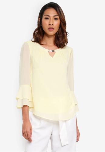 Dorothy Perkins yellow Billie & Blossom Lemon Flute Sleeve Trim Blouse FC93DAAA996B91GS_1