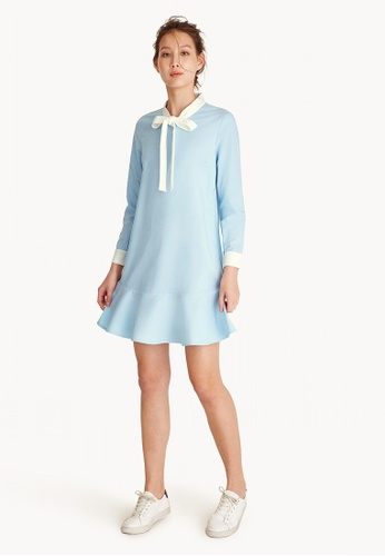 Pomelo blue Two Toned Neck Tie Dress - Blue 68382AAE4B2EFAGS_1