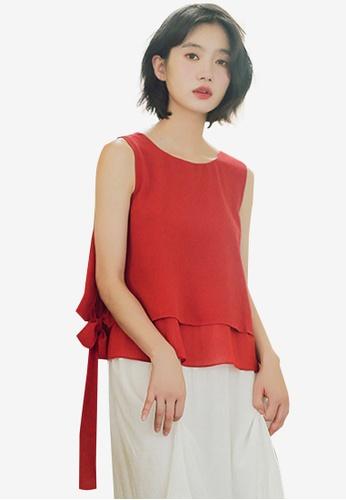 Shopsfashion 紅色 Layered Tie A Bow Blouse D003BAA61BEA64GS_1