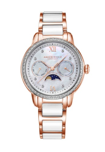Aries Gold white Aries Gold Enchant Luna Rose Gold and White Watch 86BA1AC380F4F6GS_1