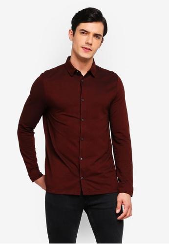 Burton Menswear London 紅色 酒紅色 長袖雙色Pique 襯衫 4310BAA92D37E2GS_1