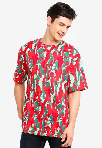 Topman red Red 'Hyke' Camoufage T-Shirt EC2FFAA16D1212GS_1