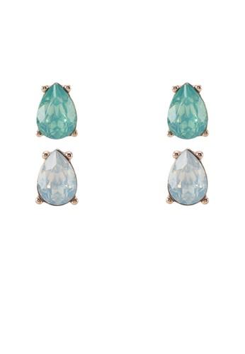 Falzittu 水滴形水zalora開箱鑽耳環, 飾品配件, 耳釘