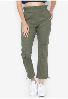 bf8a616f7627e OXYGEN green High Waist Cargo Pants With Belt A0B49AAADC4722GS_1
