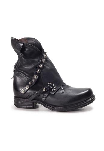 Shu Talk black A.S.98 Italian Leather Bucket Wrap Boots with Studs F033BSHE3F5FC5GS_1