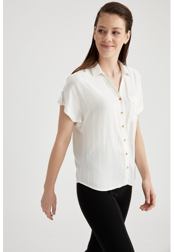 DeFacto white Woman Woven Short Sleeve Shirt FF3FBAAE71D97EGS_1
