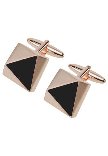 CUFF IT black Faceted Rose Gold Triangle Black Plastic Cufflinks CU047AC26ZSJHK_1