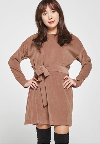 韓流時尚 腰蝴蝶結連衣裙 Fzalora鞋子評價4035, 服飾, 洋裝