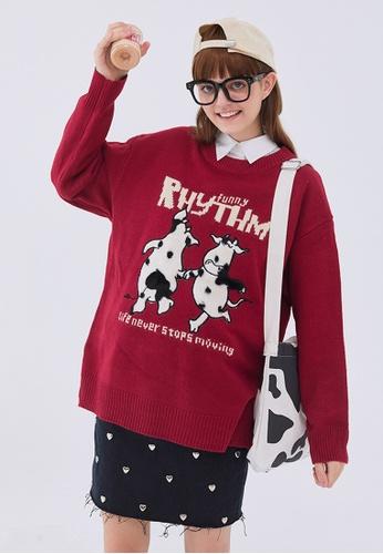Twenty Eight Shoes Trend Cartoon Cow Knit Sweater HH0582 BFFD0AA363F1F2GS_1