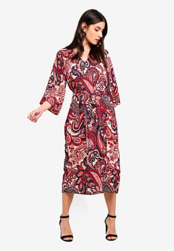 ONLY red and multi Riley 3/4 Midi Dress 54DD6AAE824F13GS_1