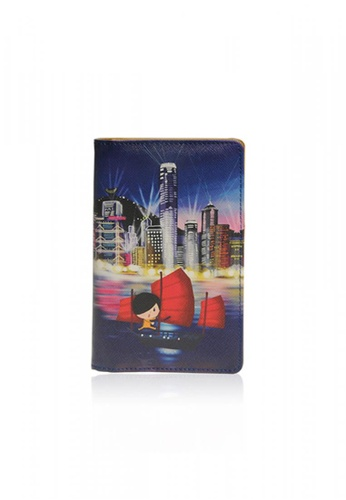 Monocozzi multi Little Lon x MONOCOZZI - PU Leather Passport Holder  - Night View 3B994AC046D676GS_1