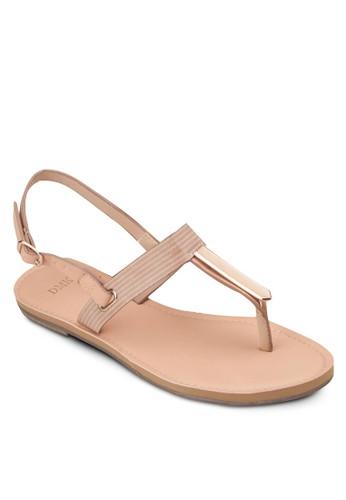 夾趾繞踝平底涼鞋, 女鞋, esprit taiwan涼鞋